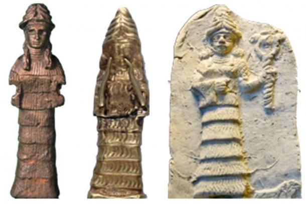 Ancient artists deified Ham's wife, the Cainite princess Naamah (Genesis 4:22), identifying her with the mountain upon which she landed in the ark. In these ancient images, she wears a mountain hat and her special dress is flounced and tiered, representing sections of the escarpment on the mountain. Naamah's image to the right holds the staff of the two-headed serpent symbolizing the serpent's rule before the Flood, and now, because of her Cainite dedication, the serpent's rule resumed in the post-Flood world. (Author supplied).