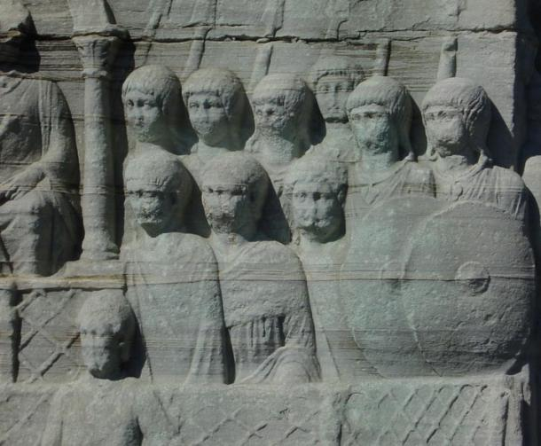 Ancient carving of Roman soldiers on the base of Theodosius I's obelisk in Constantinople (c. 390). The troops belong to a regiment of palatini as they are here detailed to guard the emperor