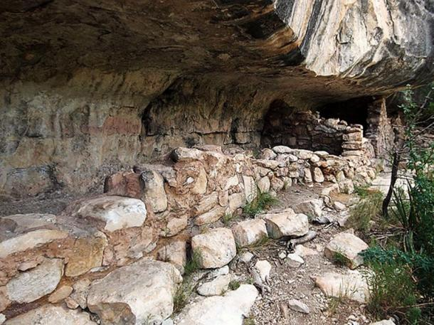 Ancient cliff dwellings of the Sinagua people on Island Trail at Walnut Canyon National Monument.