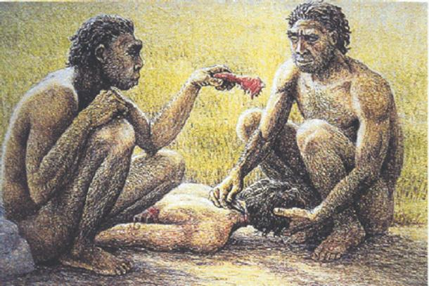 Ancient humans eating raw meat.