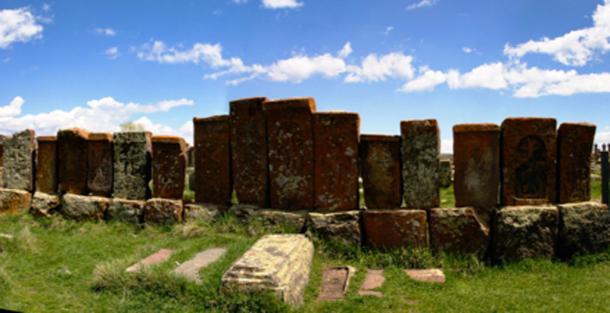 Ancient khachkars in Noratus Cemetery, Armenia.  homocosmicos / Adobe Stock.