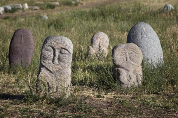 Ancient stone sculptures near Burana Tower (Olga Labusova / Adobe Stock)