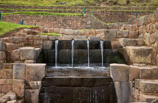 Ancient water spouts at Tipón, Peru