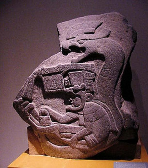 Androgynous demi-god Quetzalcoatl, offspring of the Androgynous Ometeotl carries man bag at the Olmec site of La Venta 1800 BC. (Author provided)
