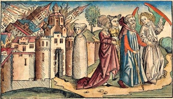 Angels guide Lot and his family out of Sodom while his wife is turned into a pillar of salt for watching the destruction of the city