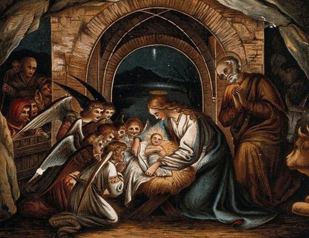 Angels pray at the birth of Christ, nativity (Wellcome Images / CC BY-SA 4.0)