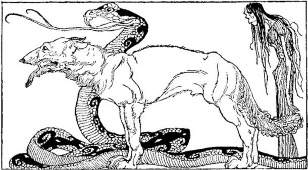 Angerboda's and Loki's offspring: The Fenris Wolf, the Midgard Serpent and Hel – all having a central role during the events of Ragnarok. (Illustration: Willy Pogany, 1920).