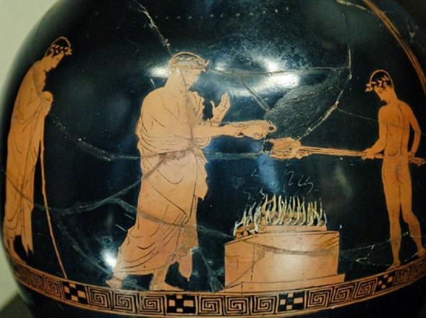 Animal sacrifice with libations; depiction ca. 430-425 BC. Louvre. (Public Domain)