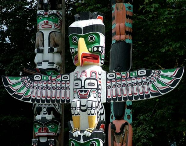 Animal totem poles in British Columbia, Canada.