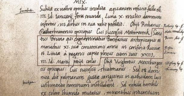 The first written instance of the name of Lithuania is in the Annals of Quedlinburg.