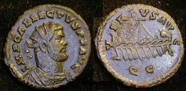 Another Allectus coin, this one with a ship on the back. THE PORTABLE ANTIQUITIES SCHEME/ THE TRUSTEES OF THE BRITISH MUSEUM/CC BY-SA 2.0