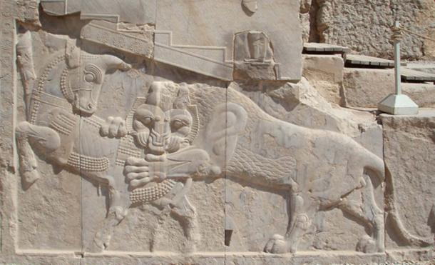 Another bull image—from Persepolis, possibly of Zoroastrian origin. Mithras had associations with bulls and is believed to have derived from Aryan-Persian-Indian religions. In this relief, the lion and bull are engaged in a mythic battle