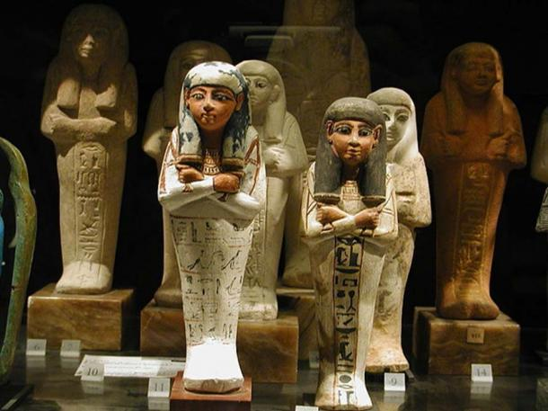 Antique Egyptan Shabtis in the Louvre Museum, Paris
