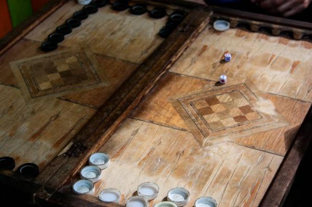Antique backgammon board