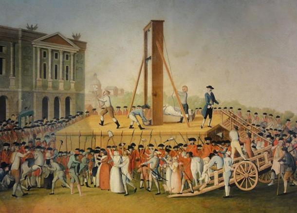 Marie Antoinette's execution on 16 October 1793: Sanson, the executioner, showing Marie Antoinette's head to the people. (Anonymous, 1793. Musée Carnavalet, Paris)