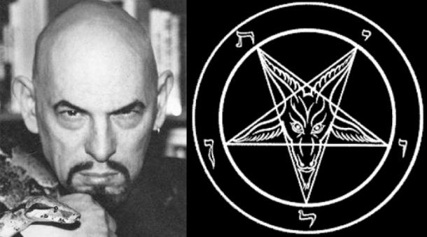 [Left] Anton Szandor LaVey, founder of the Church of Satan. [Right]The Sigil of Baphomet: an emblem of the Church of Satan (Gustavo89/CC BY-SA 3.0)