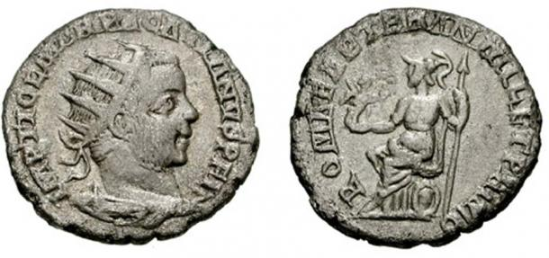 """Antoninianus of Pacatianus, usurper of Roman emperor Philip in 248. Coin bears the legend ROMAE AETER[NAE] AN[NO] MIL[LESIMO] ET PRIMO, """"To eternal Rome, in its one thousand and first year""""."""