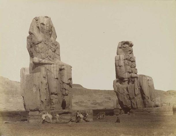 Antonio Beato, Colossi of Memnon, Egypt, 19th century. Brooklyn Museum.
