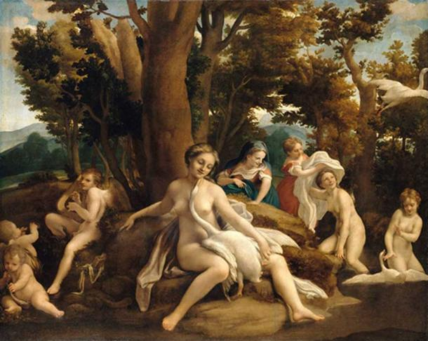 Antonio da Correggio - Leda and the Swan (c.1530). (Public Domain)