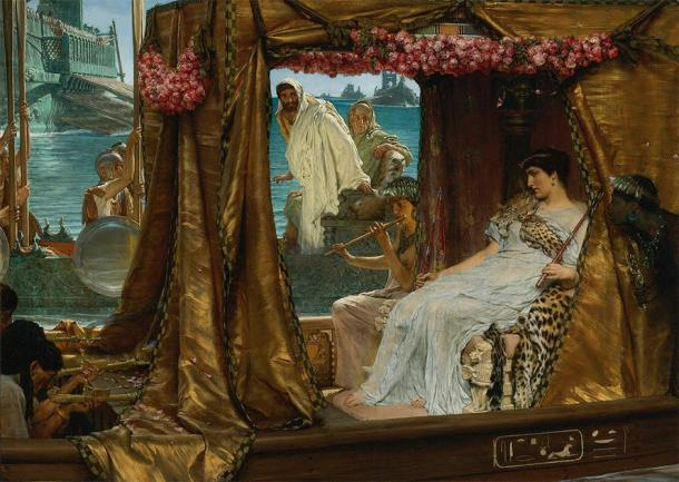 Antony and Cleopatra (1883) depicting Mark Antony's meeting with Cleopatra in 41 BC. (Lawrence Alma-Tadema / Public domain)