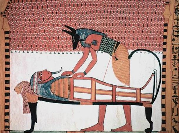 Anubi, an important funerary god in Asyut where Hataon was found, is depicted in this ancient painting attending a mummy.