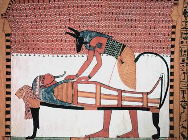 Anubis attending the mummy of the deceased.