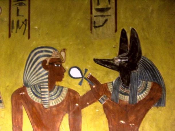 Anubis, Egyptian god associated with the afterlife, depicted with the head of a dog.