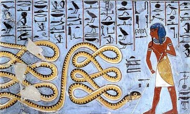 Ancient Egyptian art depicting Apep being warded off by a deity.