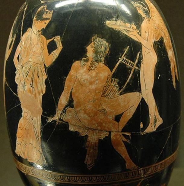Aphrodite and Adonis, Attic red-figure aryballos-shaped lekythos by Aison, ca. 410 BC, Louvre.