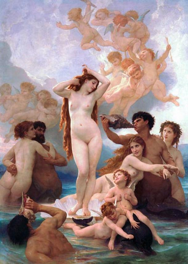 Aphrodite pictured standing in a sea shell and with two dolphins at her feet. 'The Birth of Venus' by William Adolphe Bouguereau