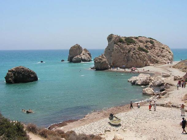 Aphrodite's Rock, on the coast in Paphos, western Cyprus.