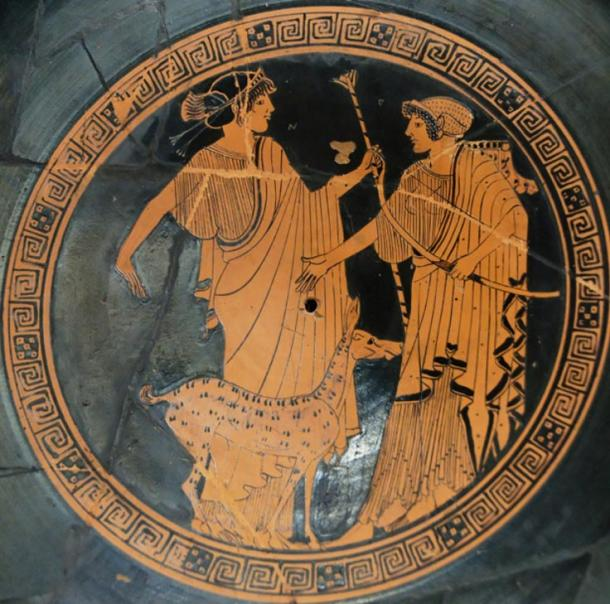 Apollo and Artemis on a Greek cup from about 470 BC. Apollo, who was the Archer, is on the left. Artemis, the huntress, is shown with the bow.