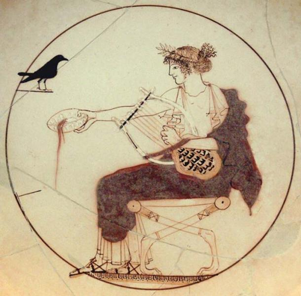 Apollo plays the lyre. Wikimedia Commons