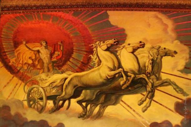 Apollo pulling the sun with his Golden Chariot. (Greek Mythology Wiki)