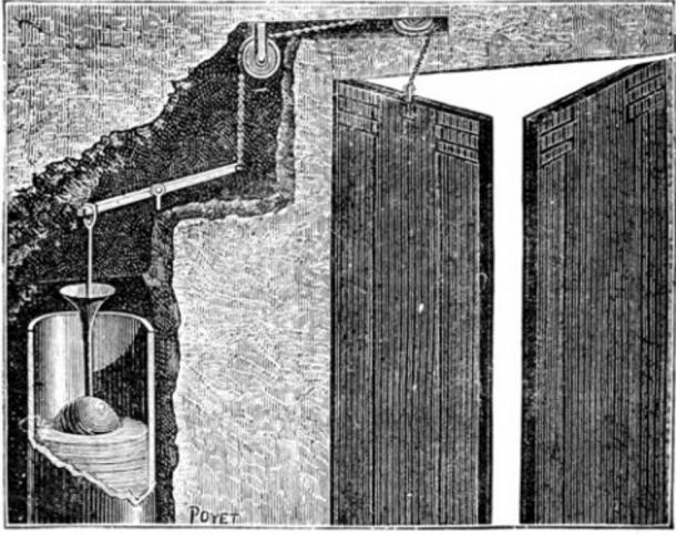 "Apparatus for sounding a trumpet when the door of a temple was opened, pictured in the book ""Magic, Stage Illusions and Scientific Diversions Including Trick Photography."""