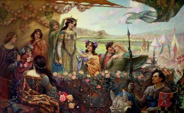 Lancelot aparece por primera vez en los anales de la literatura en una obra de Chrétien de Troyes allá por 1170 d.C. Esta pintura de Herbert James Draper representa a Lancelot y Guinevere. (Dominio público)