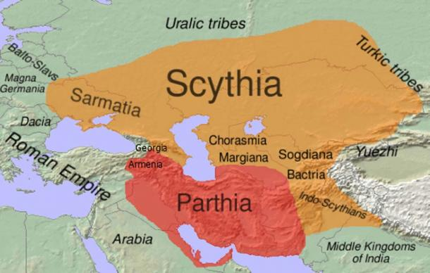 Approximate extent of Scythia within the area of distribution of Eastern Iranian languages (shown in orange) in the 1st century BC. (CC BY-SA 3.0)