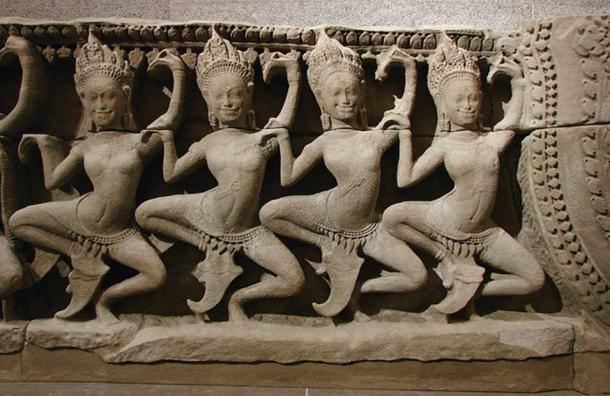 Apsaras dance taken from the 12th-century Bayon temple at Angkor in Cambodia.