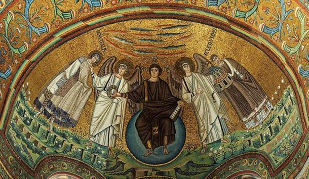 Apse mosaic in the basilica of San Vitale, Ravenna, Italy. Built 547 AD and a UNESCO World heritage site. On the mosaic from the left side: St. Vitalis, an archangel, Jesus Christ, a second archangel, and Bishop of Ravenna Ecclesius. (Petar Milošević/CC BY SA 4.0)