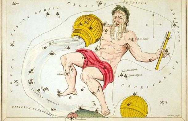 """Aquarius, Piscis Australis & Ballon Aerostatique"", plate 26 in Urania's Mirror, a set of celestial cards accompanied by A familiar treatise on astronomy ... by Jehoshaphat Aspin. London. Astronomical chart, 1 print on layered paper board: etching, hand-colored. (Public Domain)"
