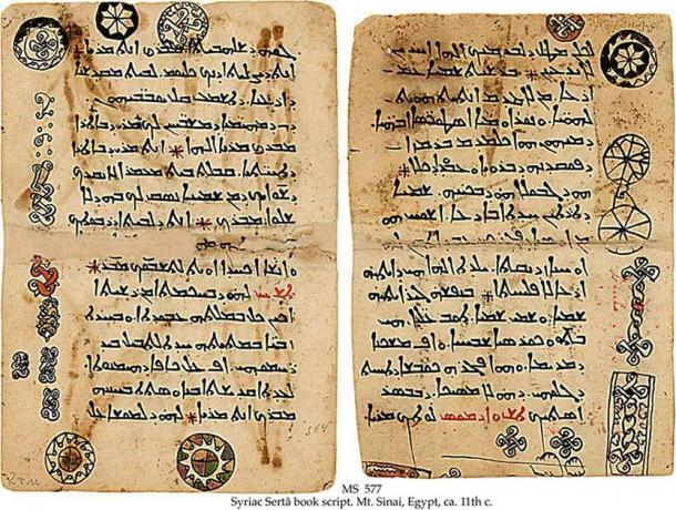 Ancient Aramaic (one of the oldest languages) writings from Syriac Sertâ book script. Mt. Sinai, Egypt. 11th century. (Public domain)
