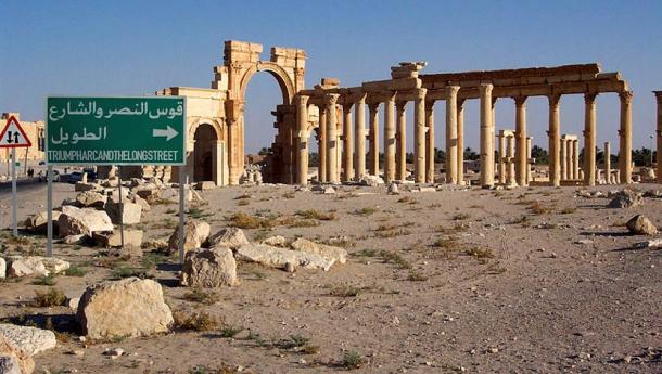 Palmyra, Syria. Arch of Septimius Severus and Decumanus Maximus ('long street').
