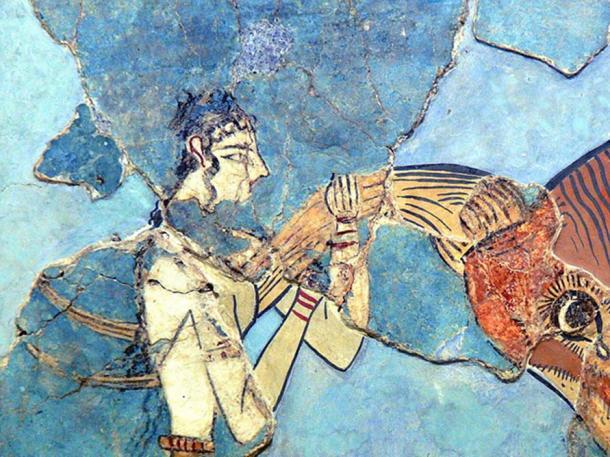 Archaeological Museum of Herakleion, Crete. Minoan bull-leaping fresco (1600-1450 BC)