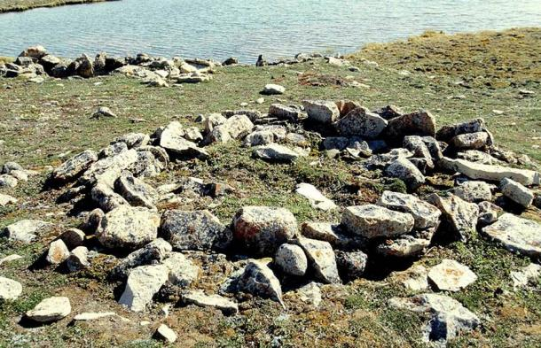 Archaeological site - thule cairn. The Thule were the ancestors of all modern Inuit.
