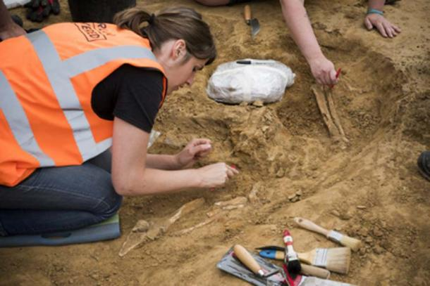 Archaeologist Eva Collignon excavating the human bones at Mont‐Saint‐Jean from the Battle of Waterloo. (Chris van Houts / Waterloo Uncovered)