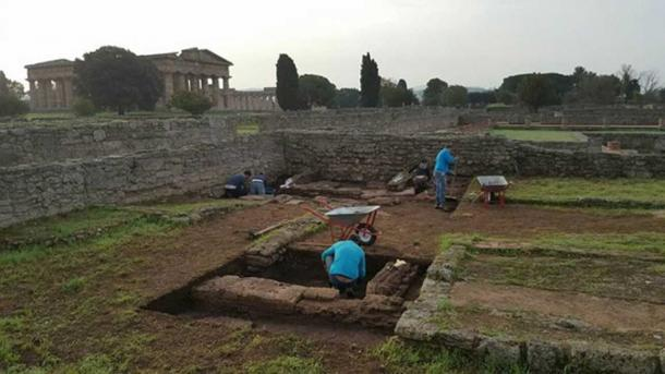 Archaeologists excavating a structure which is believed to date from when the settlement of Poseidonia was founded in southern Italy.