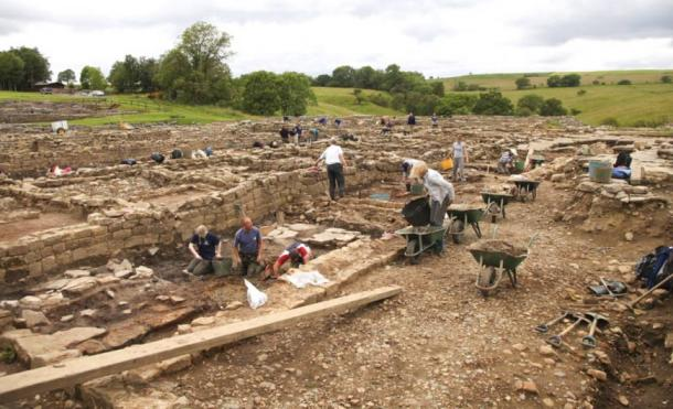 Archaeologists carrying out excavations at Roman Vindolanda