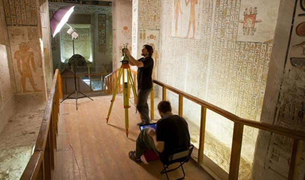 Archaeologists from Poland document the walls of the tomb of Ramesses VI.