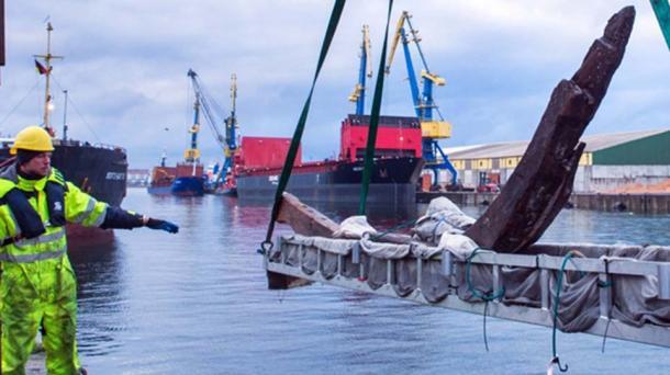 Archaeologists' race against time to study and document the surviving timbers of the Viking shipwreck. (Landesamt für Kultur und Denkmalpflege Mecklenburg-Vorpommern)