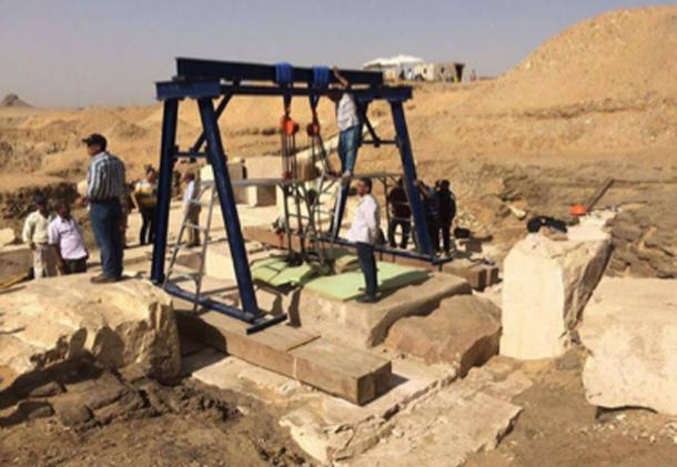 Archaeologists reached the burial chamber of the 3,800-year-old pyramid and discovered the remains of a poorly preserved sarcophagus and a wooden box inscribed with three lines of hieroglyphs. (Egyptian Ministry of Antiquities)